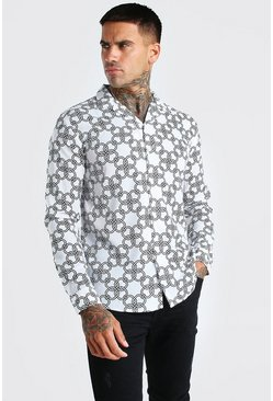 Stone Long Sleeve Oversized Chain Print Shirt