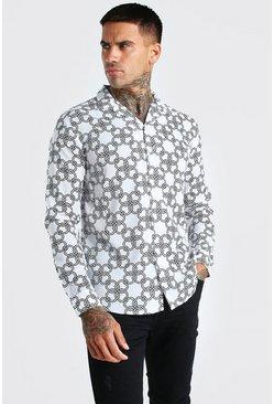 Stone Long Sleeve Oversized Chain Print Shirt