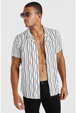 Stone Short Sleeve Revere Collar Chain Print Shirt