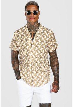 White Short Sleeve Oversized Chain Print Shirt