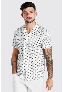 Ecru Short Sleeve Revere Collar Polka Dot Shirt