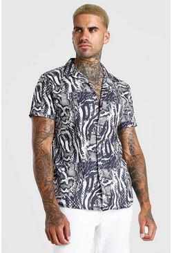Black Short Sleeve Revere Collar Animal Print Shirt