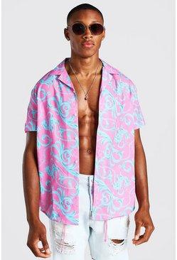Pink Short Sleeve Oversized Baroque Print Shirt