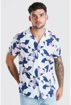 Multi Short Sleeve Revere Collar Floral Print Shirt