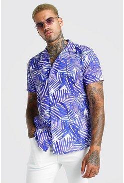 Purple Short Sleeve Revere Collar Palm Print Shirt