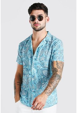 Mint Short Sleeve Revere Collar Paisley Print Shirt