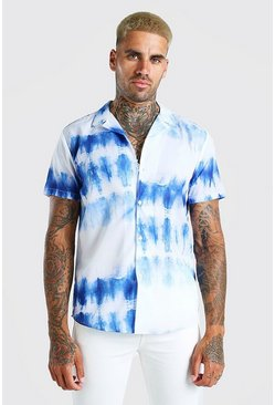 White Short Sleeve Revere Collar Tie Dye Shirt