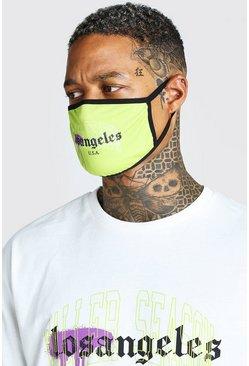 Lime LA Graffiti Print Fashion Mask