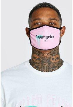 Pink LA Graffiti Print Fashion Mask