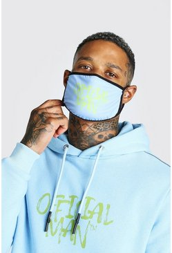 Official MAN Fashion-Maske mit Graffiti-Print, Hellblau