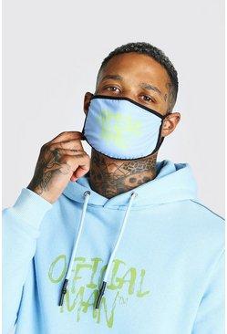 Light blue Official Man Graffiti Print Fashion Mask