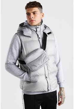 Grey 2 In 1 Hooded Gilet With Detachable Body Bag