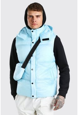 Light blue 2 In 1 Hooded Gilet With Detachable Body Bag