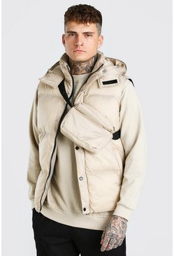 Stone 2 In 1 Hooded Gilet With Detachable Cross Body Bag
