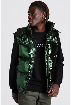 Green Iridescent Hooded Gilet