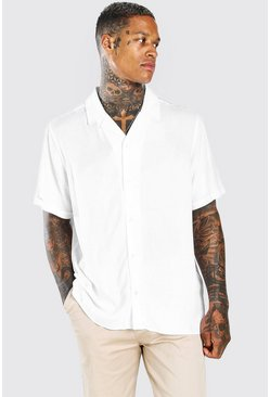White MAN Tab Oversized Revere Collar Shirt