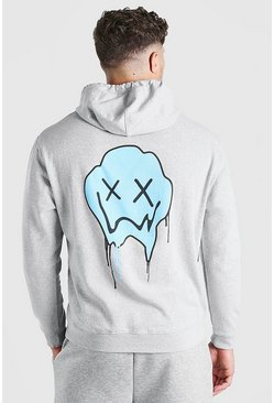 Grey Big And Tall Drip Face Back Print Hoodie