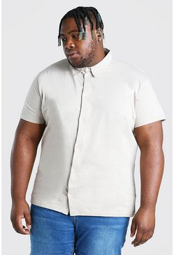 Ecru Plus Size Basic Short Sleeve Jersey Shirt