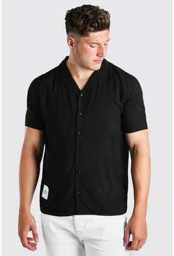 Black Big And Tall Revere Shirt With Woven Tab