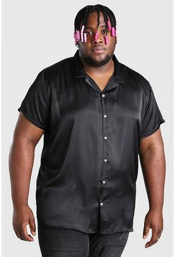 Black Big And Tall Satin Shirt With Revere Collar
