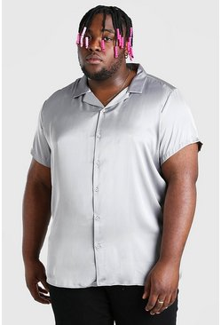 Charcoal Plus Size Satin Shirt With Revere Collar