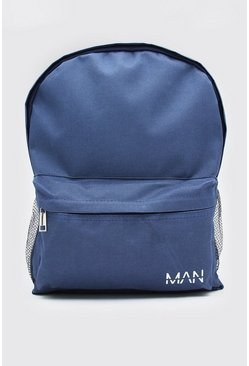 Navy Nylon Backpack With MAN Print