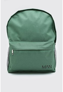 Green Nylon Backpack With MAN Print