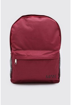 Burgundy Nylon Backpack With MAN Print