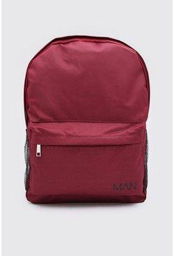 Burgundy Nylon Backpack With MAN Print
