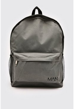 Nylon Backpack With MAN Print, Grey