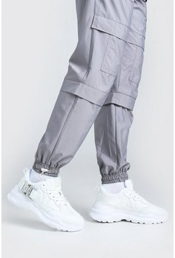White Man Chunky Sneaker With Buckle Strap