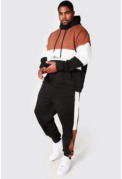 Black Plus Size MAN Colour Block Tracksuit