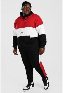 Red Plus Size MAN Colour Block Tracksuit