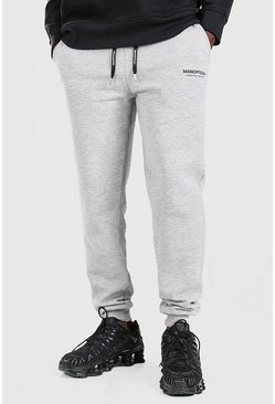 MAN Official Slim-Fit Jogginghose mit elastischem Bund, Grau meliert