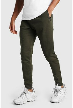 Khaki Skinny Fit Panel Detail Jogger With Side Zips