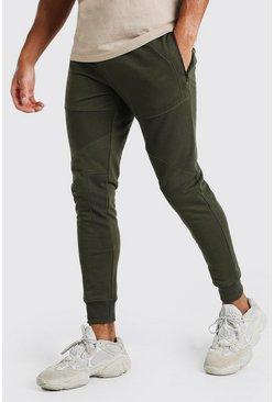 Khaki Skinny Fit Panelled Jogger