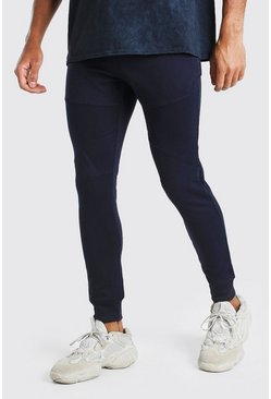 Navy Skinny Fit Panelled Jogger