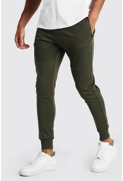 Khaki Skinny Fit Panelled Jogger With Side Zips