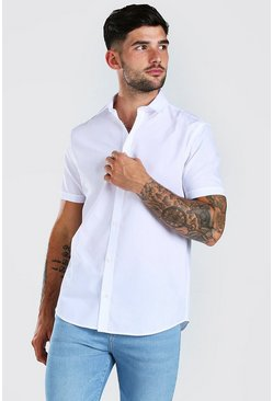 White Regular Fit Short Sleeve Shirt