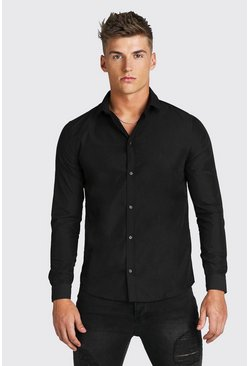 Black Regular Fit Long Sleeve Shirt