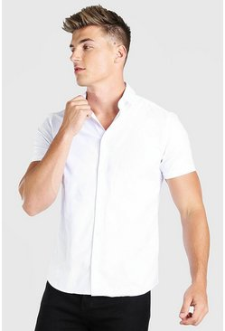 Muscle Fit Short Sleeve Shirt , White