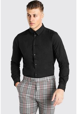 Slim Fit Long Sleeve Shirt , Black