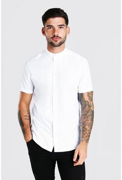 White Grandad Collar Muscle Fit Short Sleeve Shirt