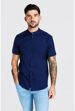 Navy Grandad Collar Muscle Fit Short Sleeve Shirt