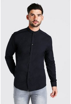 Black Grandad Collar Slim Fit Long Sleeve Shirt