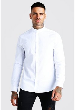 White Grandad Collar Slim Fit Long Sleeve Shirt