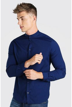 Navy Grandad Collar Slim Fit Long Sleeve Shirt