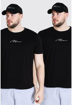 Black Plus Size 2 Pack MAN Script T-Shirt
