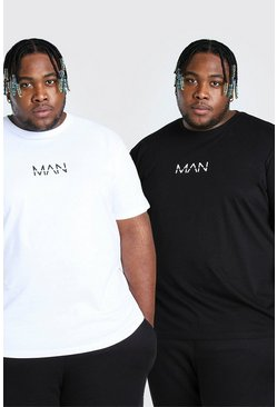 Multi Plus Size 2 Pack MAN Dash T-Shirt