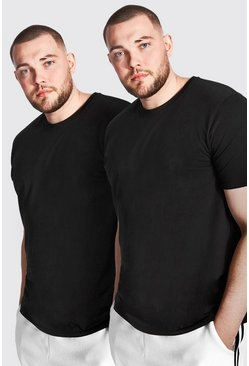 Big and Tall Longline Basic T-Shirt, 2er-Pack, Schwarz